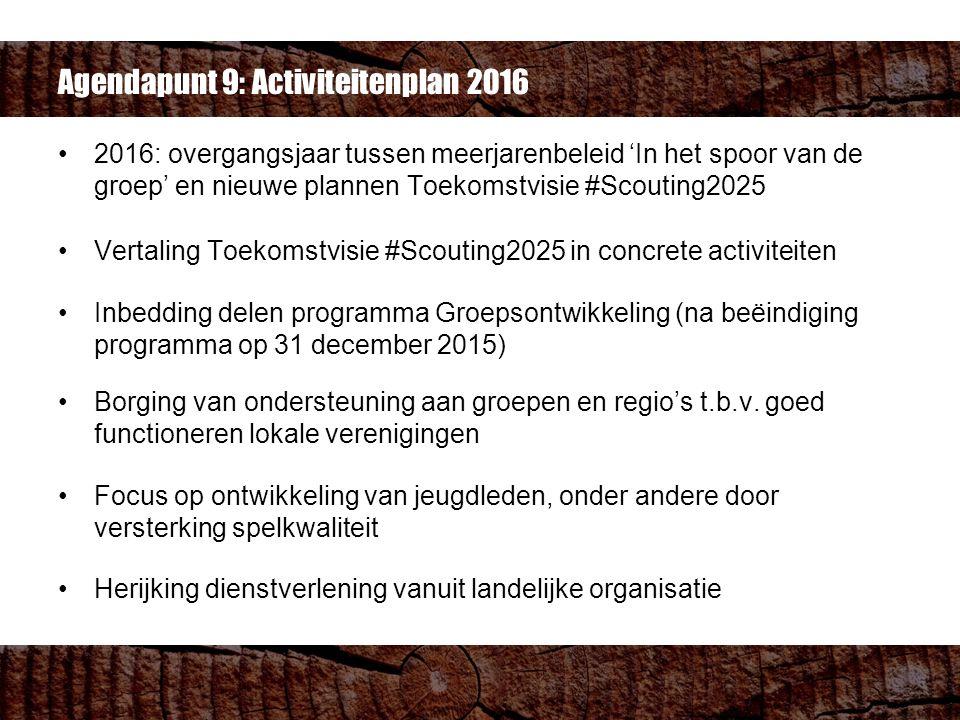 2016: overgangsjaar tussen meerjarenbeleid 'In het spoor van de groep' en nieuwe plannen Toekomstvisie #Scouting2025 Vertaling Toekomstvisie #Scouting2025 in concrete activiteiten Inbedding delen programma Groepsontwikkeling (na beëindiging programma op 31 december 2015) Borging van ondersteuning aan groepen en regio's t.b.v.