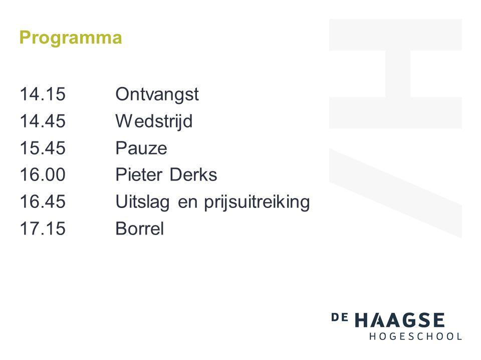 Programma 14.15Ontvangst 14.45Wedstrijd 15.45Pauze 16.00Pieter Derks 16.45Uitslag en prijsuitreiking 17.15 Borrel