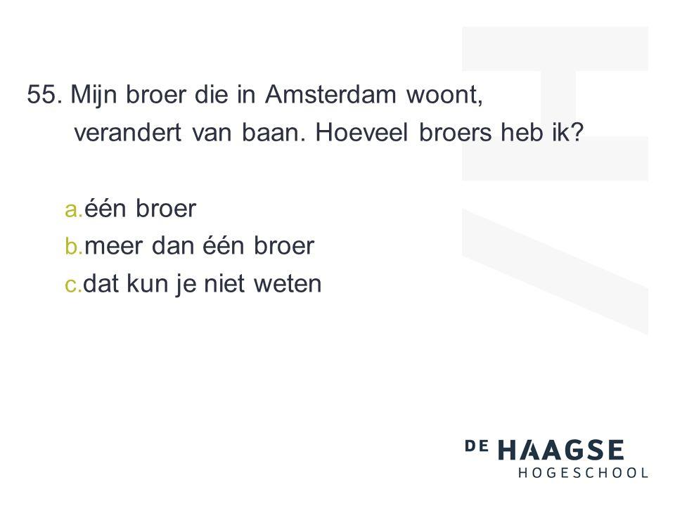 55. Mijn broer die in Amsterdam woont, verandert van baan. Hoeveel broers heb ik? a. één broer b. meer dan één broer c. dat kun je niet weten
