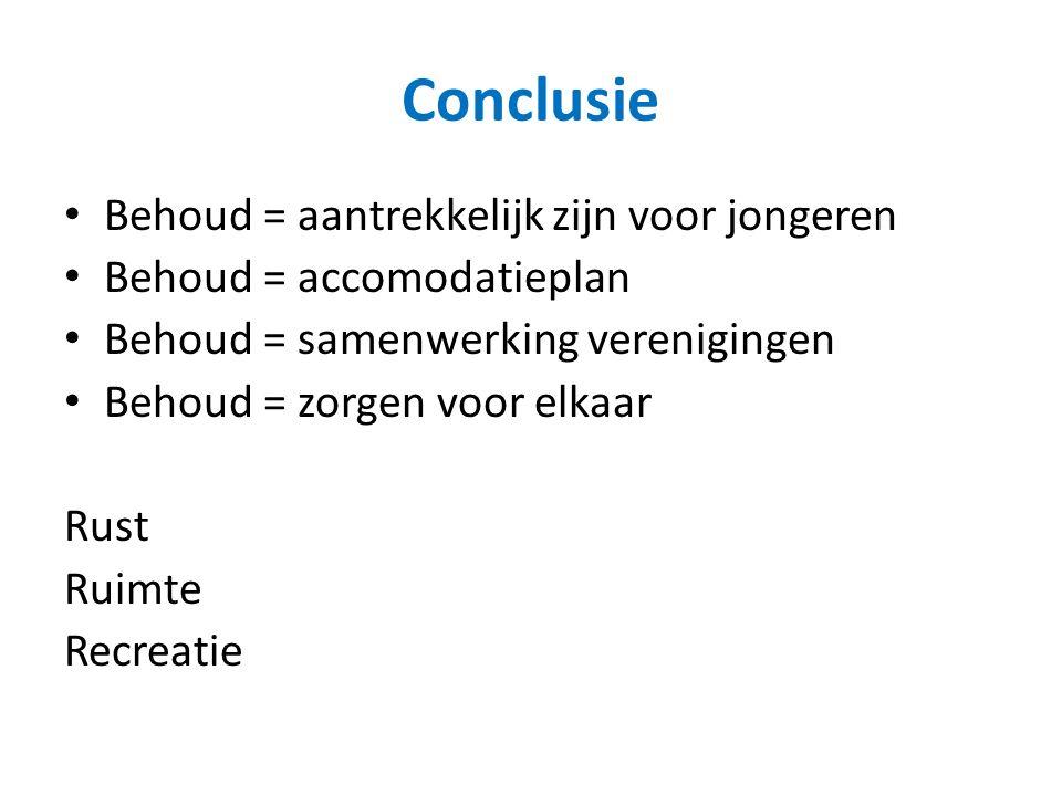 Conclusie Behoud = aantrekkelijk zijn voor jongeren Behoud = accomodatieplan Behoud = samenwerking verenigingen Behoud = zorgen voor elkaar Rust Ruimte Recreatie