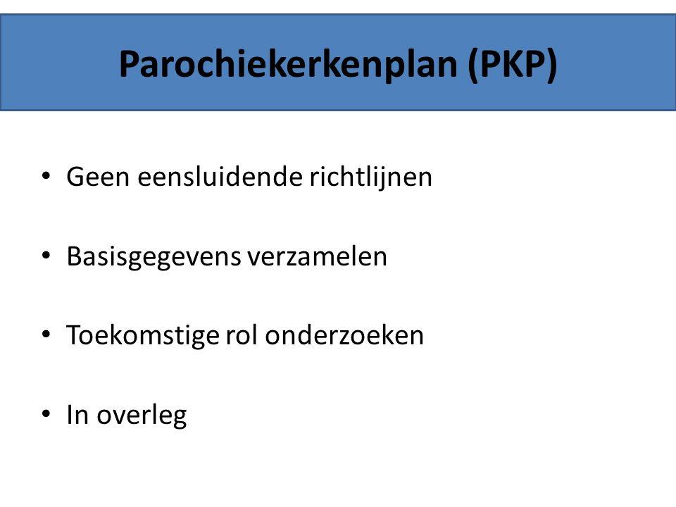 Parochiekerkenplan (PKP) Geen eensluidende richtlijnen Basisgegevens verzamelen Toekomstige rol onderzoeken In overleg