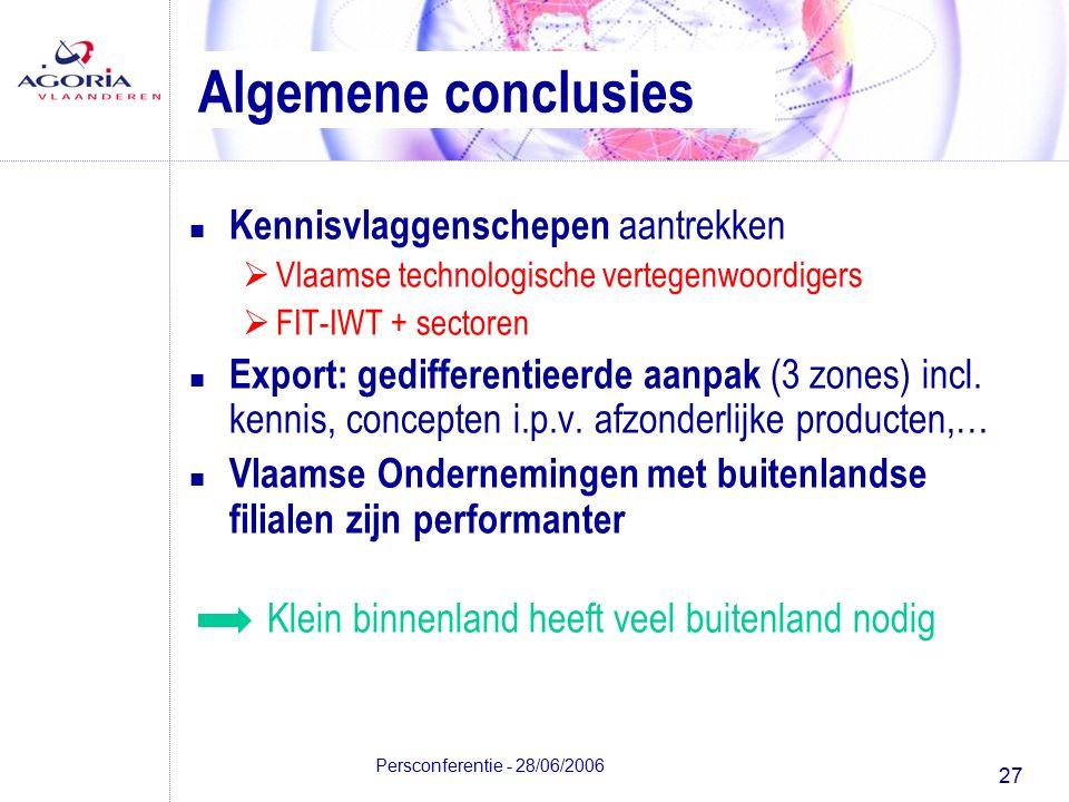 27 Persconferentie - 28/06/2006 Algemene conclusies n Kennisvlaggenschepen aantrekken  Vlaamse technologische vertegenwoordigers  FIT-IWT + sectoren n Export: gedifferentieerde aanpak (3 zones) incl.