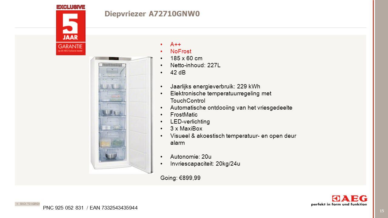 15 < BACK TO AGENDA Diepvriezer A72710GNW0 PNC 925 052 831 / EAN 7332543435944 A++ NoFrost 185 x 60 cm Netto-inhoud: 227L 42 dB Jaarlijks energieverbruik: 229 kWh Elektronische temperatuurregeling met TouchControl Automatische ontdooiing van het vriesgedeelte FrostMatic LED-verlichting 3 x MaxiBox Visueel & akoestisch temperatuur- en open deur alarm Autonomie: 20u Invriescapaciteit: 20kg/24u Going: €899,99