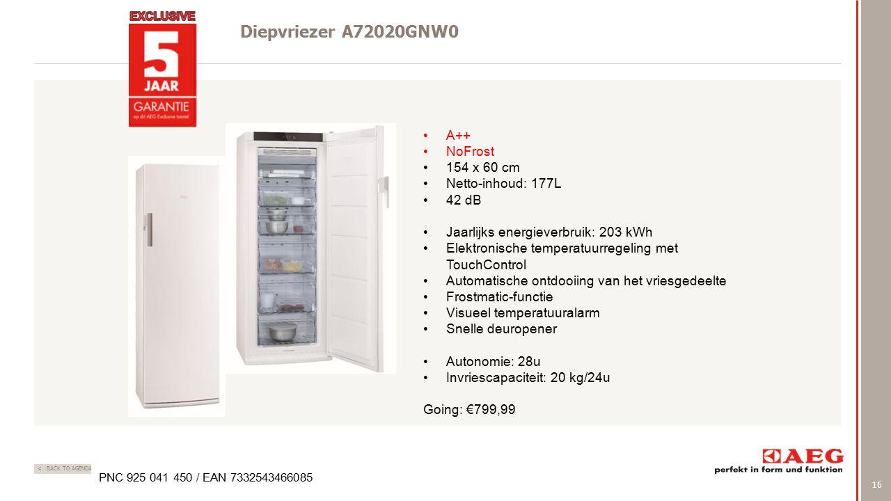 16 < BACK TO AGENDA Diepvriezer A72020GNW0 PNC 925 041 450 / EAN 7332543466085 A++ NoFrost 154 x 60 cm Netto-inhoud: 177L 42 dB Jaarlijks energieverbruik: 203 kWh Elektronische temperatuurregeling met TouchControl Automatische ontdooiing van het vriesgedeelte Frostmatic-functie Visueel temperatuuralarm Snelle deuropener Autonomie: 28u Invriescapaciteit: 20 kg/24u Going: €799,99