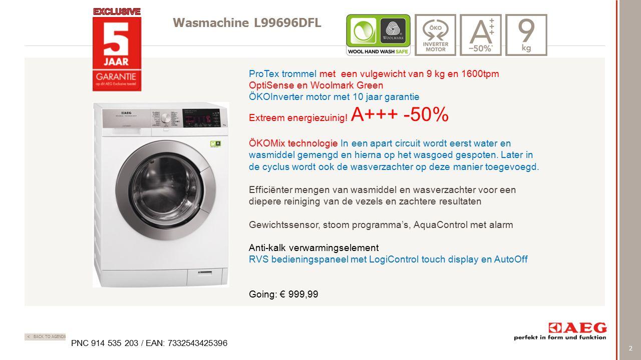 2 < BACK TO AGENDA Wasmachine L99696DFL ProTex trommel met een vulgewicht van 9 kg en 1600tpm OptiSense en Woolmark Green ÖKOInverter motor met 10 jaa