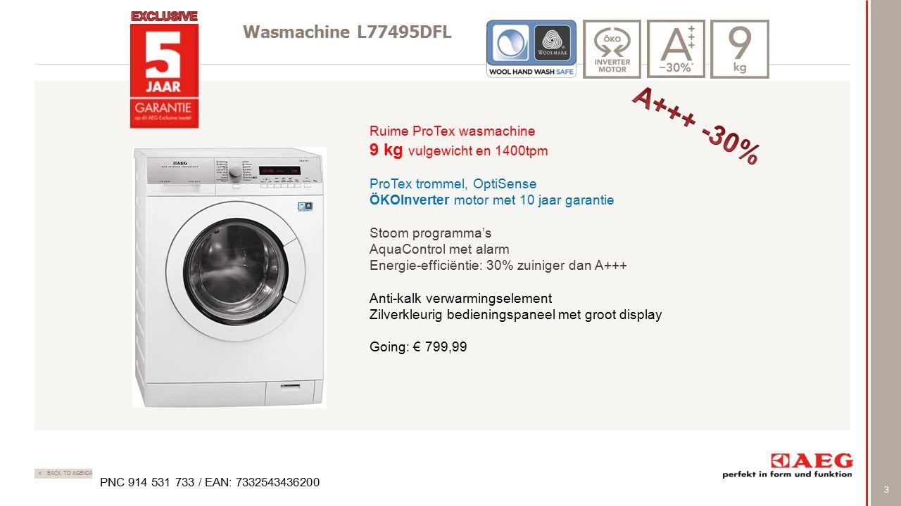 3 < BACK TO AGENDA Wasmachine L77495DFL Ruime ProTex wasmachine 9 kg vulgewicht en 1400tpm ProTex trommel, OptiSense ÖKOInverter motor met 10 jaar gar