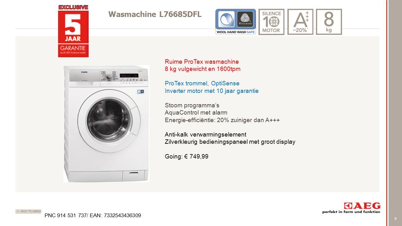 4 < BACK TO AGENDA Wasmachine L76685DFL Ruime ProTex wasmachine 8 kg vulgewicht en 1600tpm ProTex trommel, OptiSense Inverter motor met 10 jaar garant