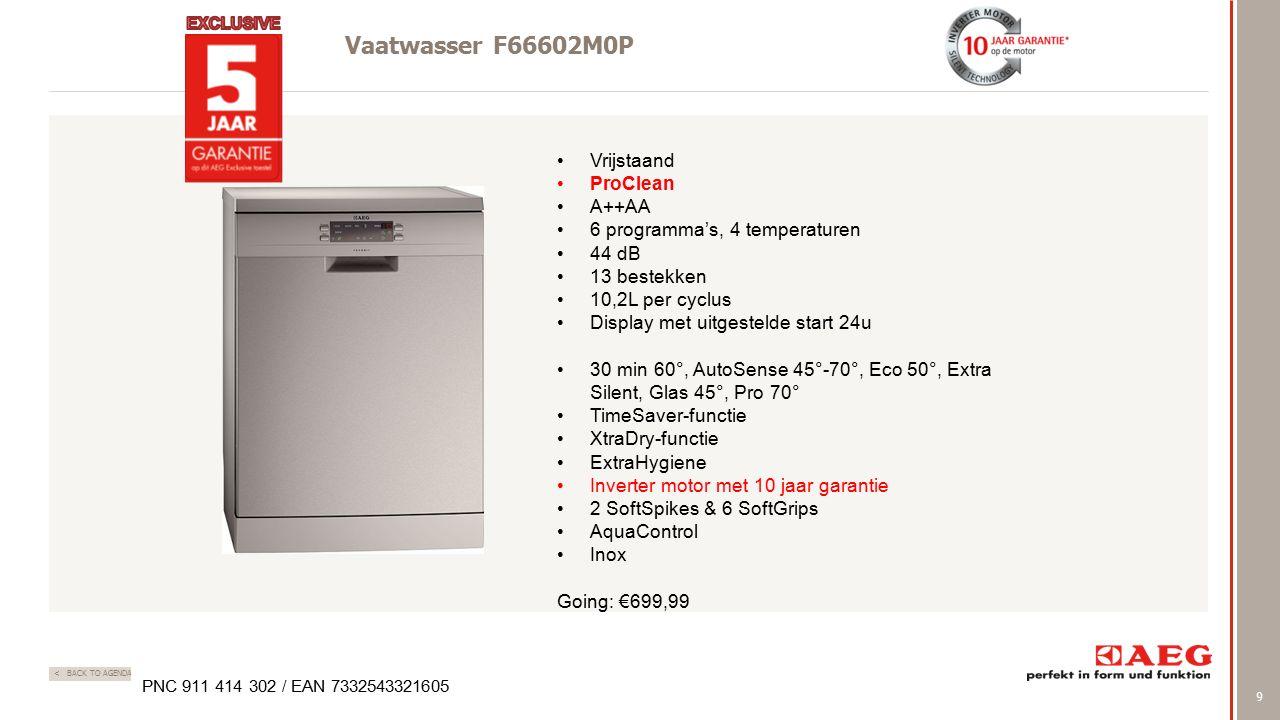 9 < BACK TO AGENDA Vaatwasser F66602M0P PNC 911 414 302 / EAN 7332543321605 Vrijstaand ProClean A++AA 6 programma's, 4 temperaturen 44 dB 13 bestekken 10,2L per cyclus Display met uitgestelde start 24u 30 min 60°, AutoSense 45°-70°, Eco 50°, Extra Silent, Glas 45°, Pro 70° TimeSaver-functie XtraDry-functie ExtraHygiene Inverter motor met 10 jaar garantie 2 SoftSpikes & 6 SoftGrips AquaControl Inox Going: €699,99