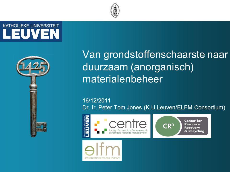 Van grondstoffenschaarste naar duurzaam (anorganisch) materialenbeheer 16/12/2011 Dr.