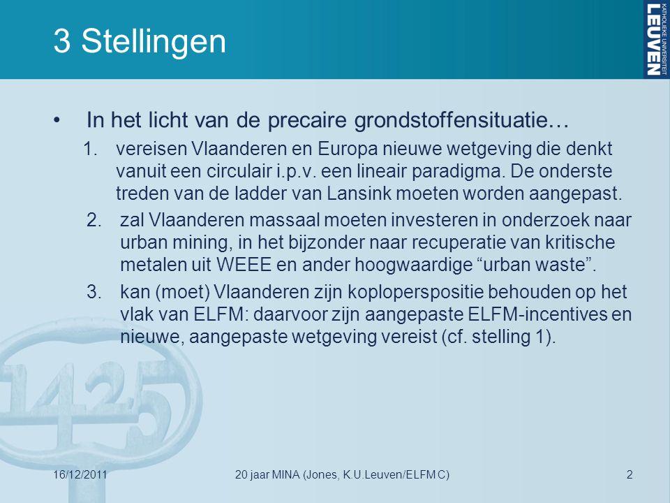 3 Stellingen In het licht van de precaire grondstoffensituatie… 1.vereisen Vlaanderen en Europa nieuwe wetgeving die denkt vanuit een circulair i.p.v.