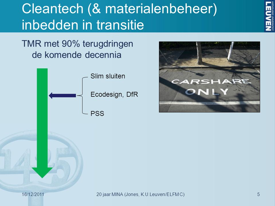 Cleantech (& materialenbeheer) inbedden in transitie TMR met 90% terugdringen de komende decennia Slim sluiten Ecodesign, DfR PSS 16/12/2011520 jaar MINA (Jones, K.U.Leuven/ELFM C)