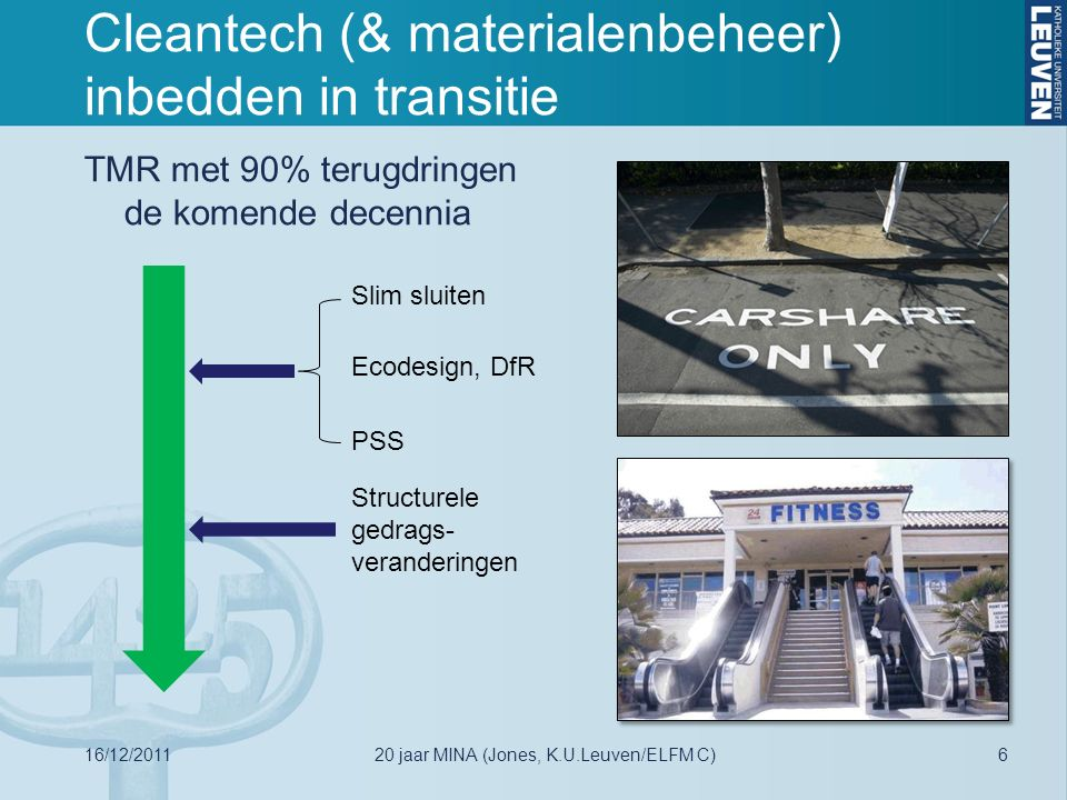 Lineaire economie: Materialenbeheer 1.0 Primary Ores (mainly outside EU) Concentrates (Intermediate) Products Use phase End-of-life products/residues Landfills (MSW, MWS/IW, IW, mono) Metals, materials and alloys Prim Residues & Recyclates Residues/Scrap Jones et al., JOM, December 2011 16/12/2011720 jaar MINA (Jones, K.U.Leuven/ELFM C)