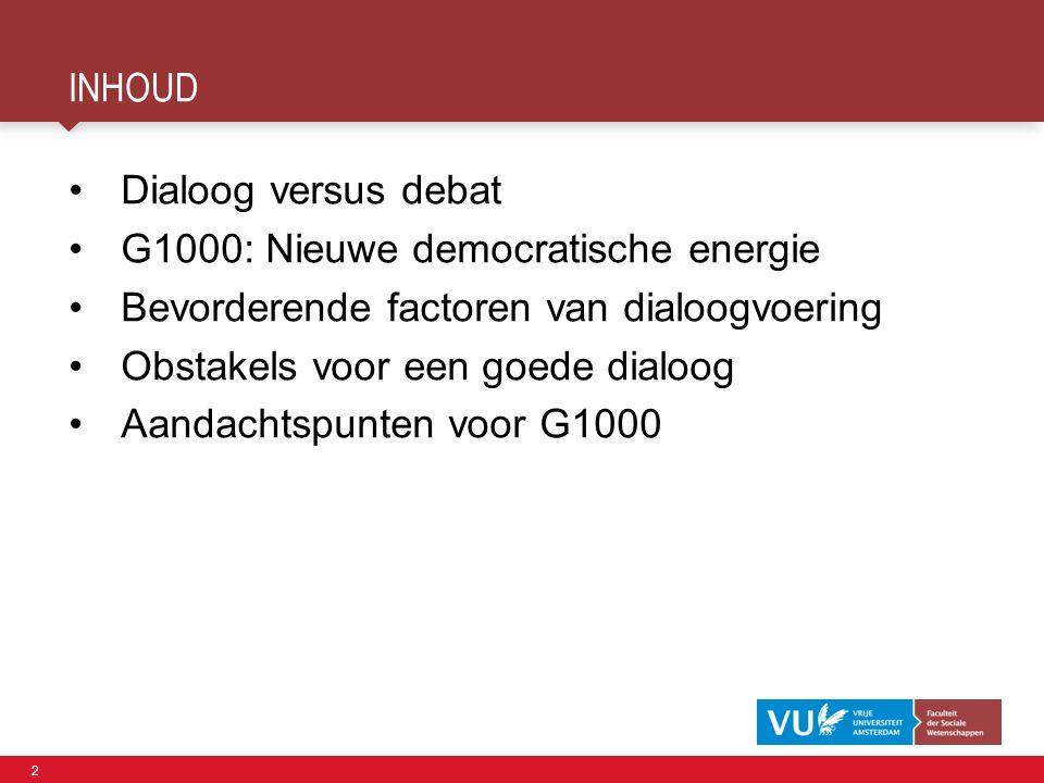 2 INHOUD Dialoog versus debat G1000: Nieuwe democratische energie Bevorderende factoren van dialoogvoering Obstakels voor een goede dialoog Aandachtspunten voor G1000