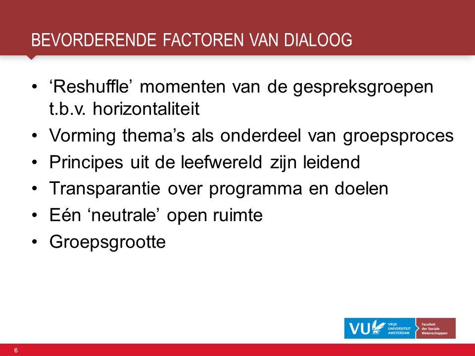 6 BEVORDERENDE FACTOREN VAN DIALOOG 'Reshuffle' momenten van de gespreksgroepen t.b.v.