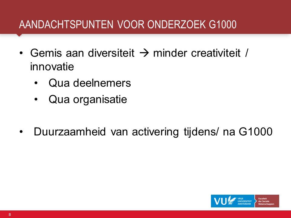 8 AANDACHTSPUNTEN VOOR ONDERZOEK G1000 Gemis aan diversiteit  minder creativiteit / innovatie Qua deelnemers Qua organisatie Duurzaamheid van activering tijdens/ na G1000