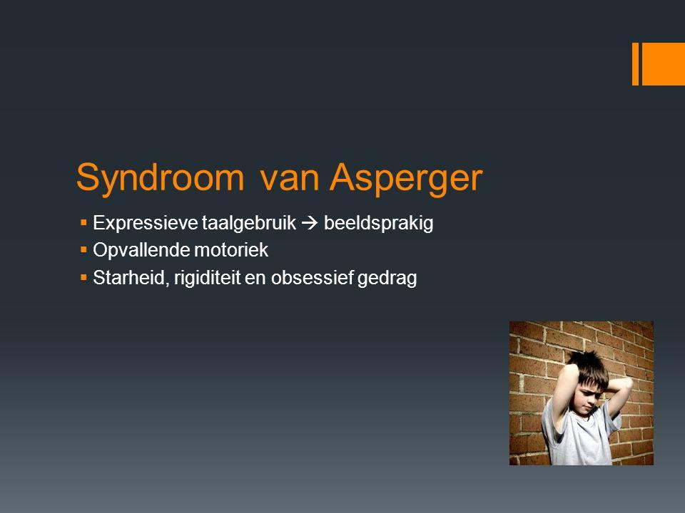 Syndroom van Asperger  Expressieve taalgebruik  beeldsprakig  Opvallende motoriek  Starheid, rigiditeit en obsessief gedrag