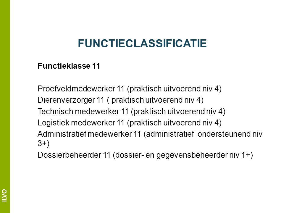 ILVO FUNCTIECLASSIFICATIE Functieklasse 11 Proefveldmedewerker 11 (praktisch uitvoerend niv 4) Dierenverzorger 11 ( praktisch uitvoerend niv 4) Technisch medewerker 11 (praktisch uitvoerend niv 4) Logistiek medewerker 11 (praktisch uitvoerend niv 4) Administratief medewerker 11 (administratief ondersteunend niv 3+) Dossierbeheerder 11 (dossier- en gegevensbeheerder niv 1+)
