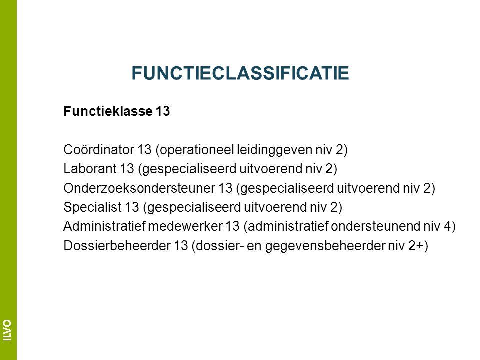 ILVO FUNCTIECLASSIFICATIE Functieklasse 13 Coördinator 13 (operationeel leidinggeven niv 2) Laborant 13 (gespecialiseerd uitvoerend niv 2) Onderzoeksondersteuner 13 (gespecialiseerd uitvoerend niv 2) Specialist 13 (gespecialiseerd uitvoerend niv 2) Administratief medewerker 13 (administratief ondersteunend niv 4) Dossierbeheerder 13 (dossier- en gegevensbeheerder niv 2+)