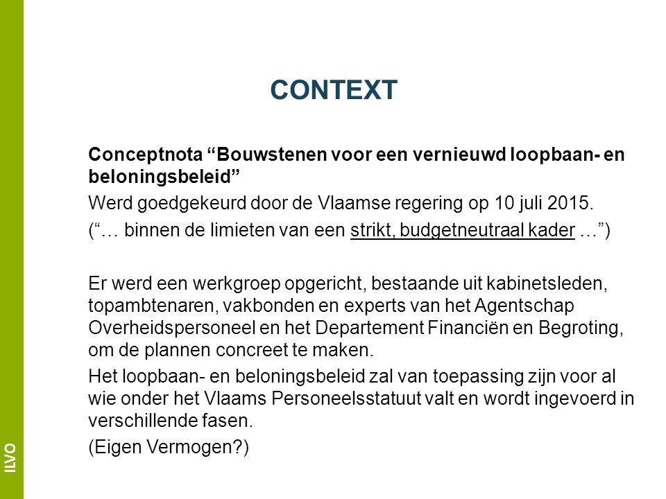 ILVO CONTEXT Conceptnota Bouwstenen voor een vernieuwd loopbaan- en beloningsbeleid Werd goedgekeurd door de Vlaamse regering op 10 juli 2015.