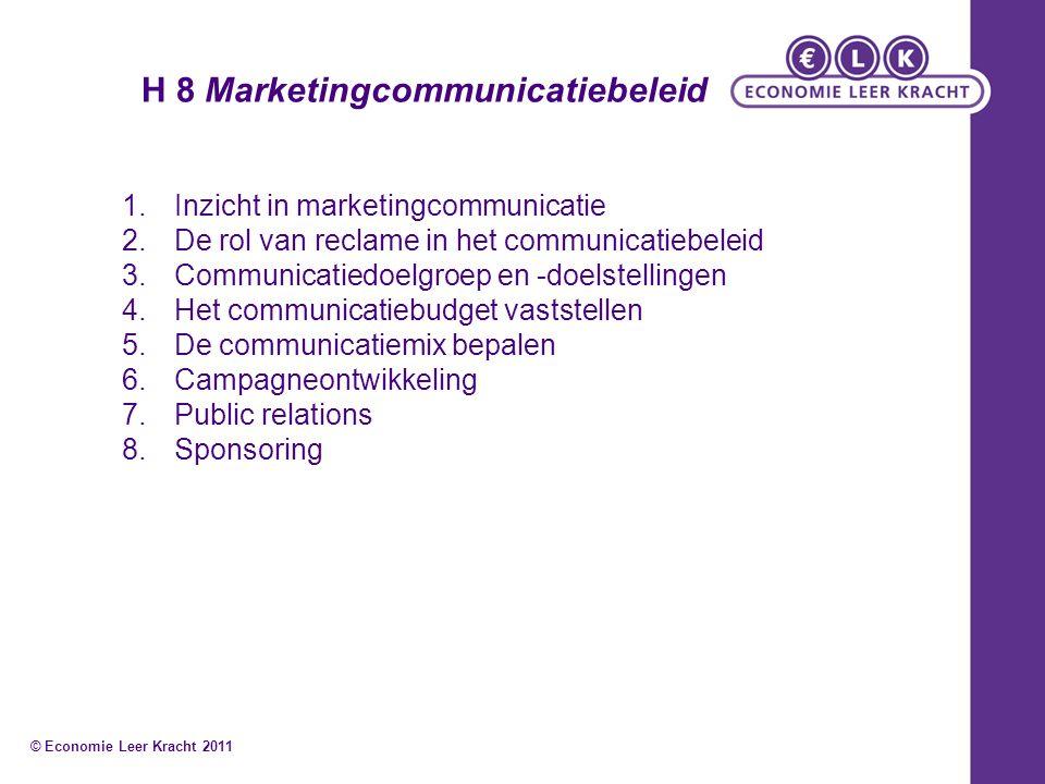 H 8 Marketingcommunicatiebeleid 1.Inzicht in marketingcommunicatie 2.De rol van reclame in het communicatiebeleid 3.Communicatiedoelgroep en -doelstel