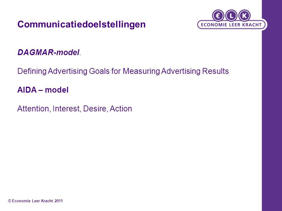 Communicatiedoelstellingen DAGMAR-model. Defining Advertising Goals for Measuring Advertising Results AIDA – model Attention, Interest, Desire, Action