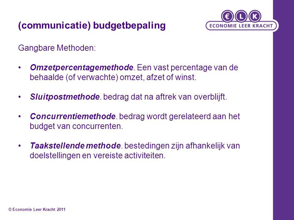 (communicatie) budgetbepaling Gangbare Methoden: Omzetpercentagemethode. Een vast percentage van de behaalde (of verwachte) omzet, afzet of winst. Slu