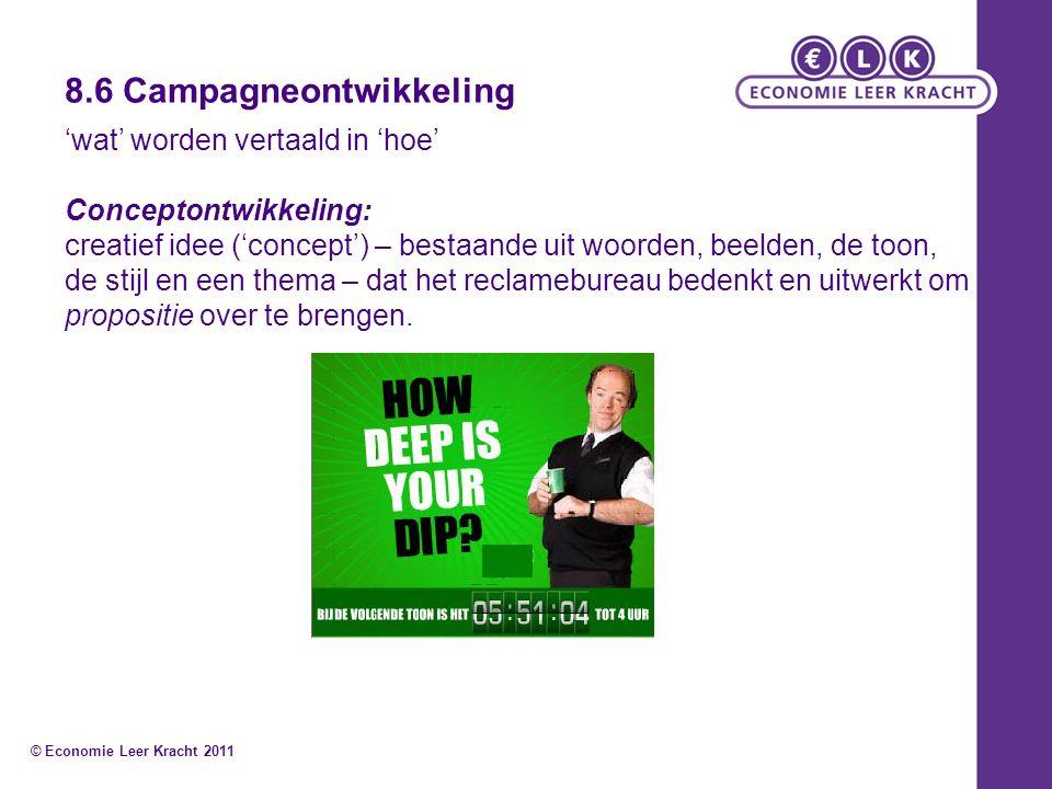 8.6 Campagneontwikkeling 'wat' worden vertaald in 'hoe' Conceptontwikkeling: creatief idee ('concept') – bestaande uit woorden, beelden, de toon, de s
