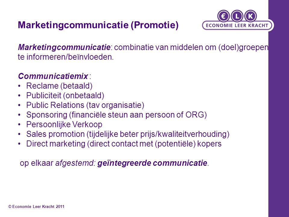 Marketingcommunicatie (Promotie) Marketingcommunicatie: combinatie van middelen om (doel)groepen te informeren/beïnvloeden. Communicatiemix : Reclame