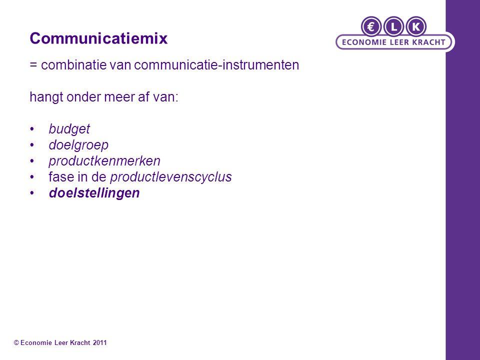Communicatiemix = combinatie van communicatie-instrumenten hangt onder meer af van: budget doelgroep productkenmerken fase in de productlevenscyclus doelstellingen © Economie Leer Kracht 2011