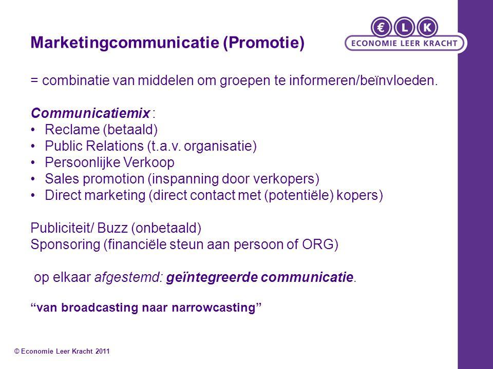 Marketingcommunicatie (Promotie) = combinatie van middelen om groepen te informeren/beïnvloeden.
