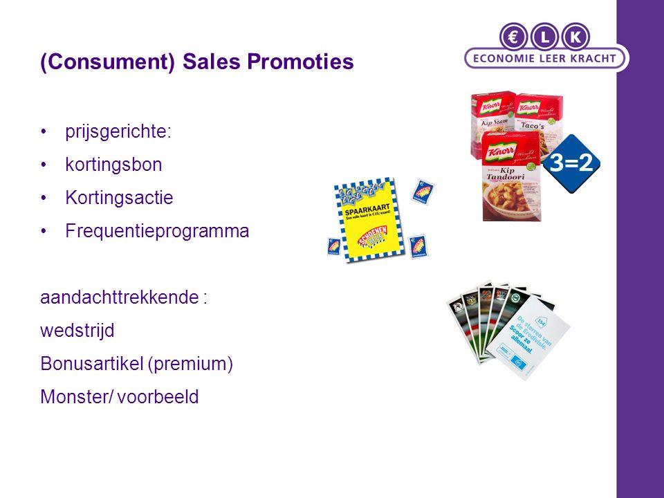 (Consument) Sales Promoties prijsgerichte: kortingsbon Kortingsactie Frequentieprogramma aandachttrekkende : wedstrijd Bonusartikel (premium) Monster/ voorbeeld