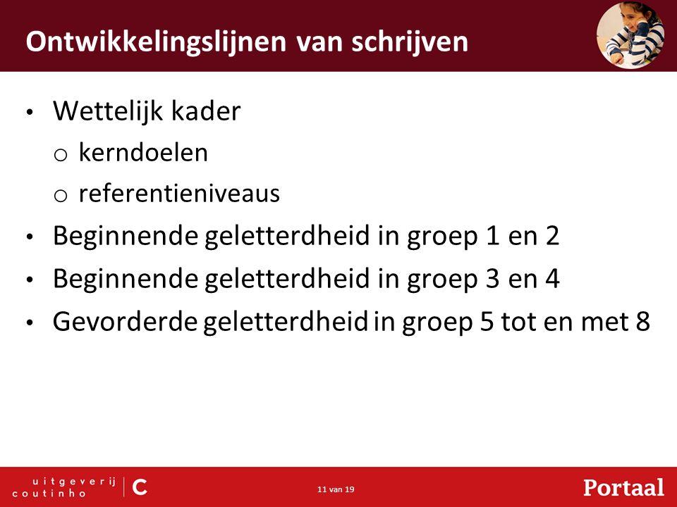 11 van 19 Ontwikkelingslijnen van schrijven Wettelijk kader o kerndoelen o referentieniveaus Beginnende geletterdheid in groep 1 en 2 Beginnende gelet