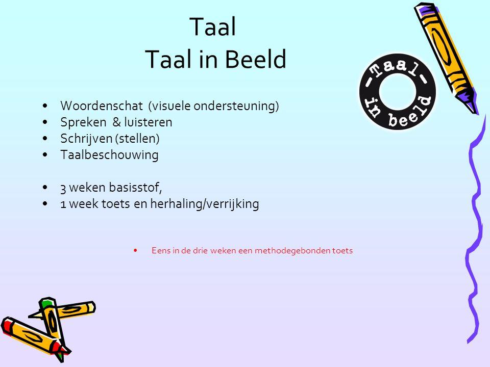 Taal Taal in Beeld Woordenschat (visuele ondersteuning) Spreken & luisteren Schrijven (stellen) Taalbeschouwing 3 weken basisstof, 1 week toets en herhaling/verrijking Eens in de drie weken een methodegebonden toets