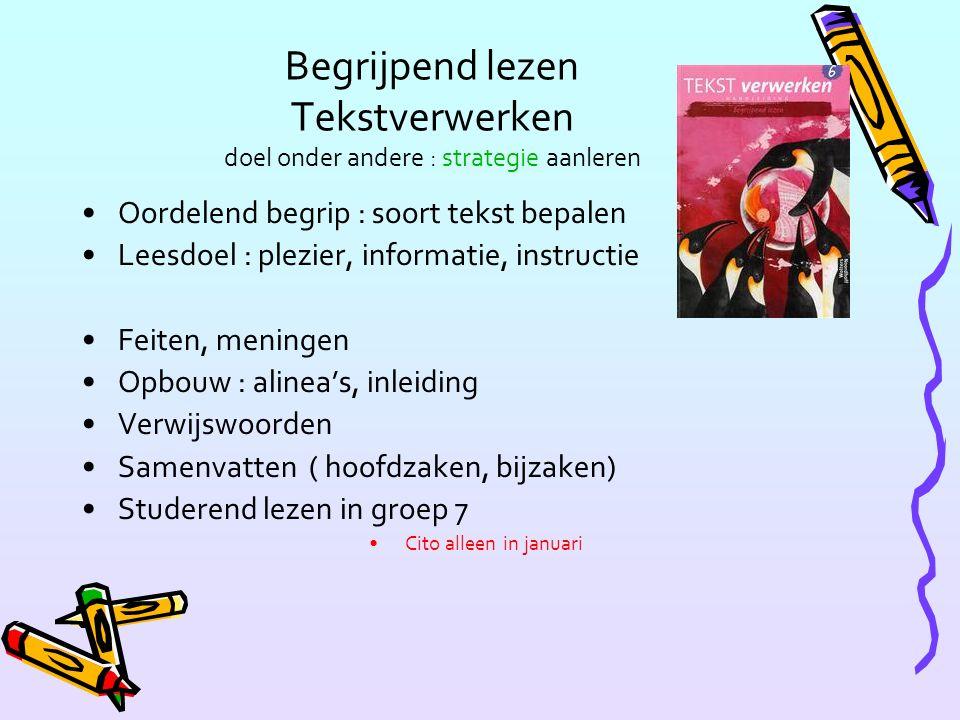Begrijpend lezen Tekstverwerken doel onder andere : strategie aanleren Oordelend begrip : soort tekst bepalen Leesdoel : plezier, informatie, instructie Feiten, meningen Opbouw : alinea's, inleiding Verwijswoorden Samenvatten ( hoofdzaken, bijzaken) Studerend lezen in groep 7 Cito alleen in januari