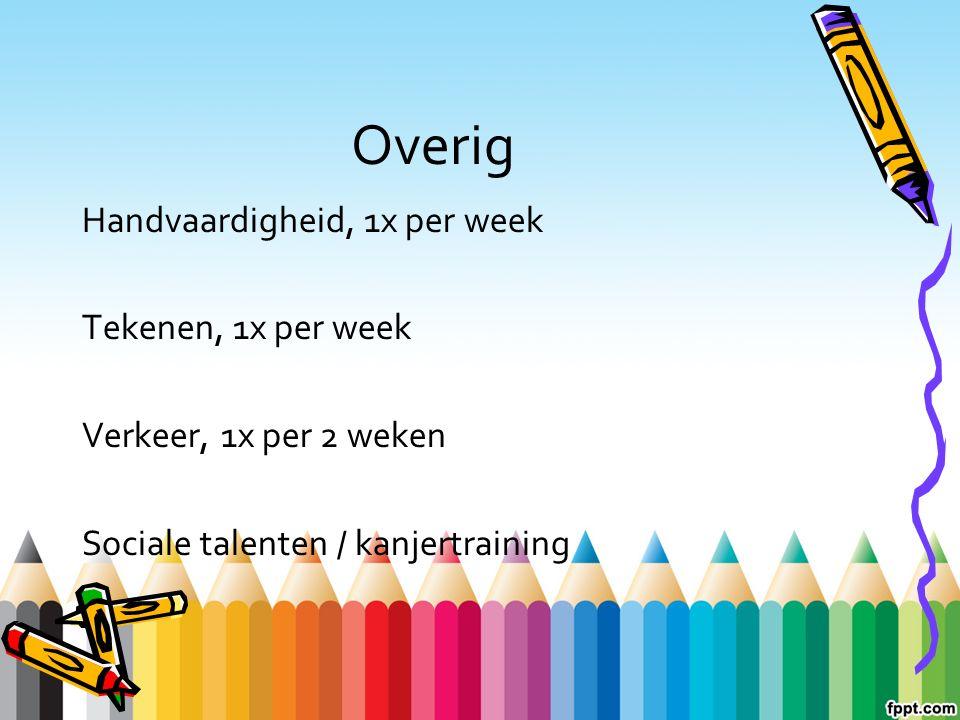 Overig Handvaardigheid, 1x per week Tekenen, 1x per week Verkeer, 1x per 2 weken Sociale talenten / kanjertraining