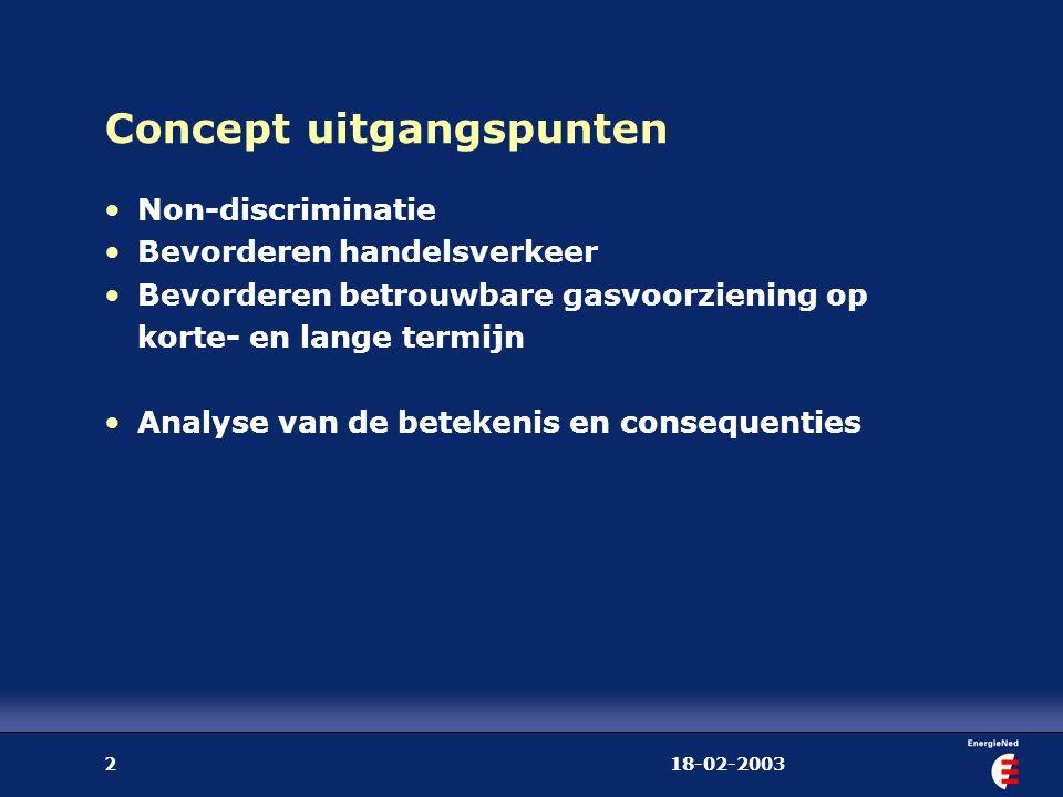 18-02-20033 Twee modellen voor de implementatie EU-richtlijnen A: uitbreiding regulering (+/- DTe model) één TSO boven de transportbedrijven Exclusieve taken, regulering tarieven en plichten mbt netverzwaring, toewijzing capaciteit Regulering van balancering en kwaliteitsconversie B: minimum aan (extra) regulering Één TSO per transportnet Huidige Gaswet uitgangspunt voor taken en verplichtingen Balancering en kwaliteitsconversie: commerciële diensten