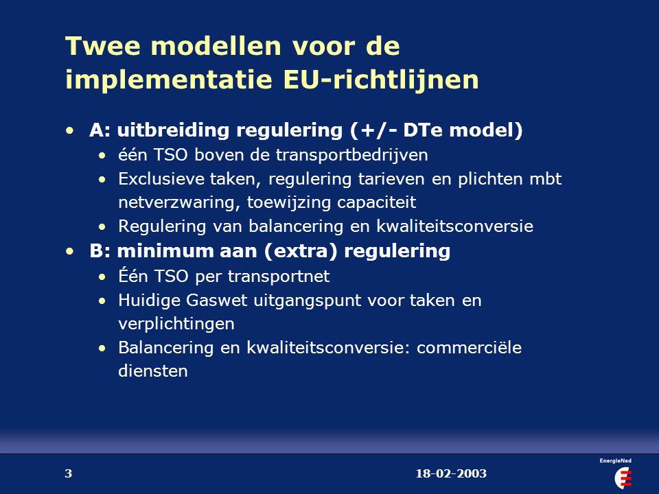 18-02-20033 Twee modellen voor de implementatie EU-richtlijnen A: uitbreiding regulering (+/- DTe model) één TSO boven de transportbedrijven Exclusiev