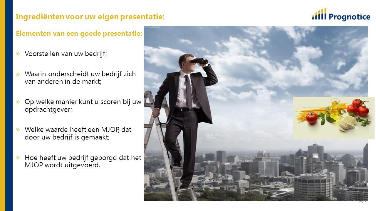 pag. 1 Elementen van een goede presentatie: » Voorstellen van uw bedrijf; » Waarin onderscheidt uw bedrijf zich van anderen in de markt; » Op welke ma