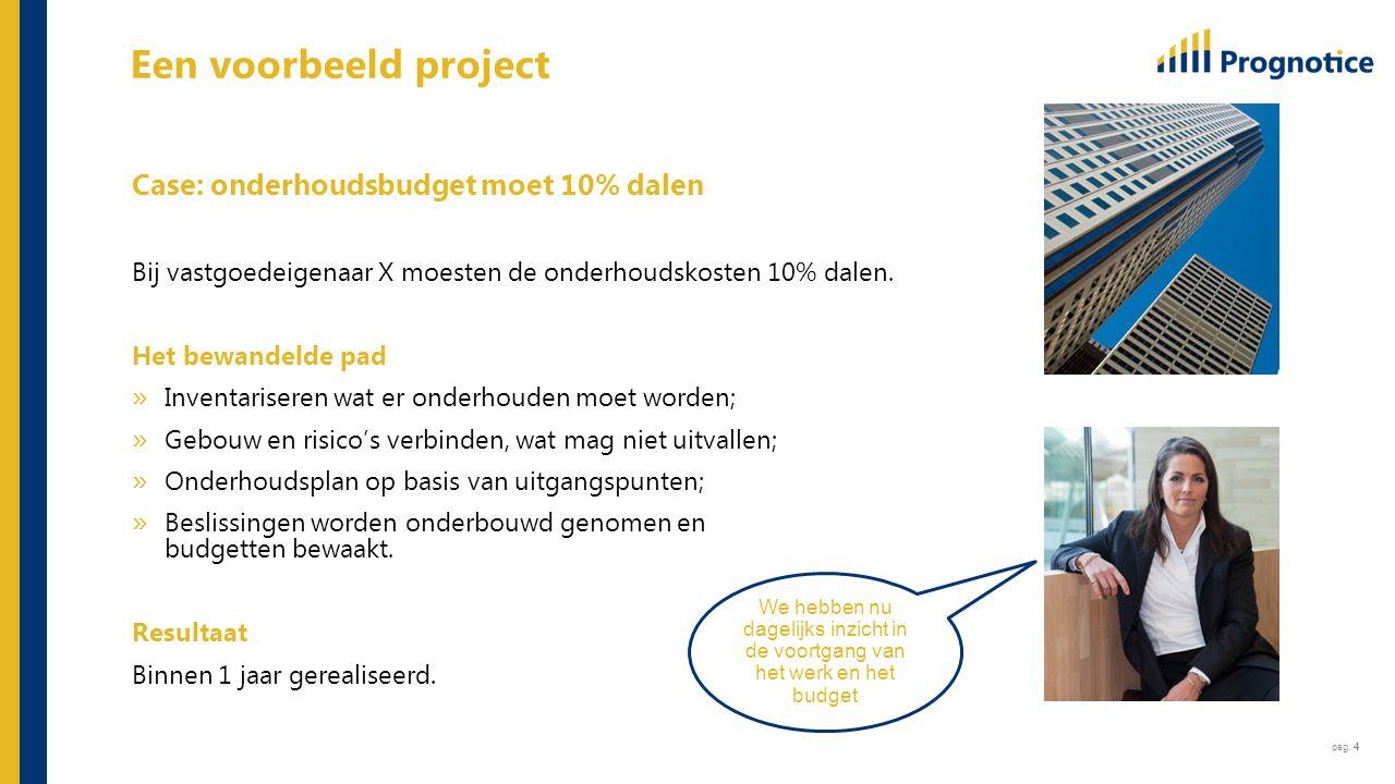 pag. 4 Een voorbeeld project Case: onderhoudsbudget moet 10% dalen Bij vastgoedeigenaar X moesten de onderhoudskosten 10% dalen. Het bewandelde pad »