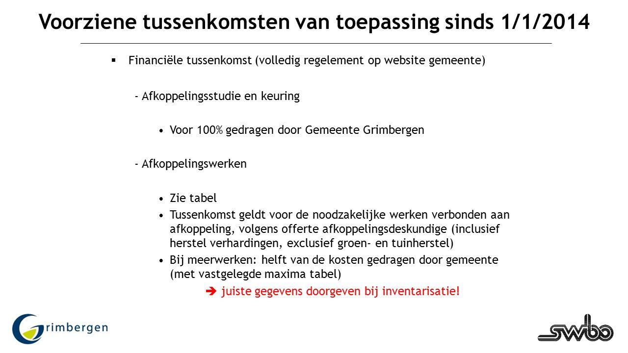 13 Voorziene tussenkomsten van toepassing sinds 1/1/2014  Financiële tussenkomst (volledig regelement op website gemeente) - Afkoppelingsstudie en ke