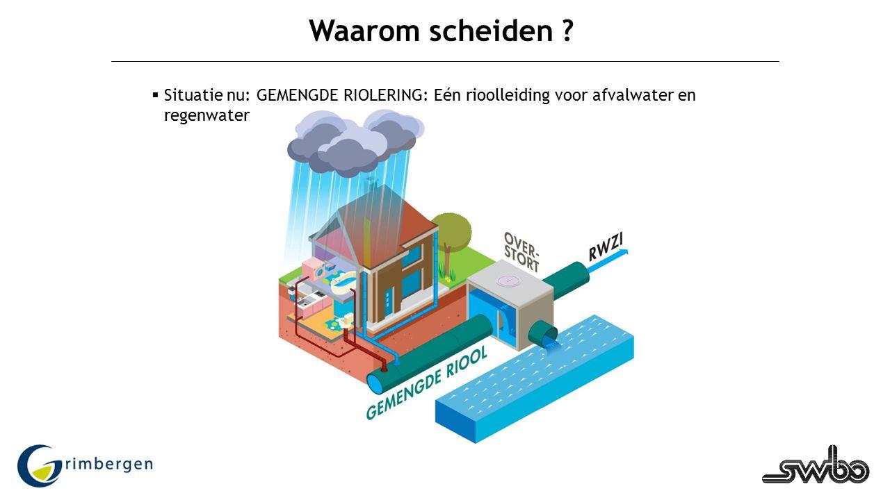3 Waarom scheiden ?  Situatie nu: GEMENGDE RIOLERING: Eén rioolleiding voor afvalwater en regenwater
