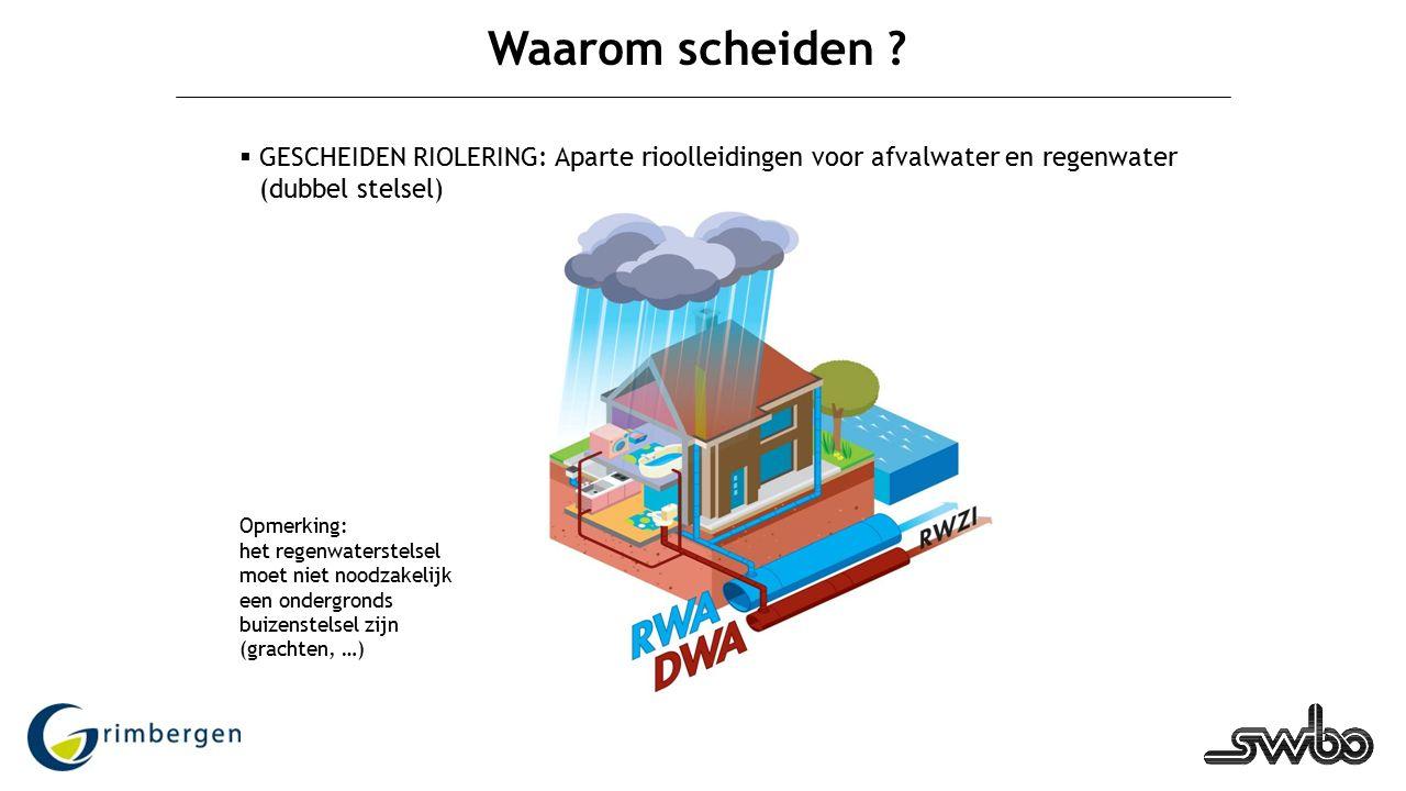 5 Waarom scheiden ?  GESCHEIDEN RIOLERING: Aparte rioolleidingen voor afvalwater en regenwater (dubbel stelsel) Opmerking: het regenwaterstelsel moet