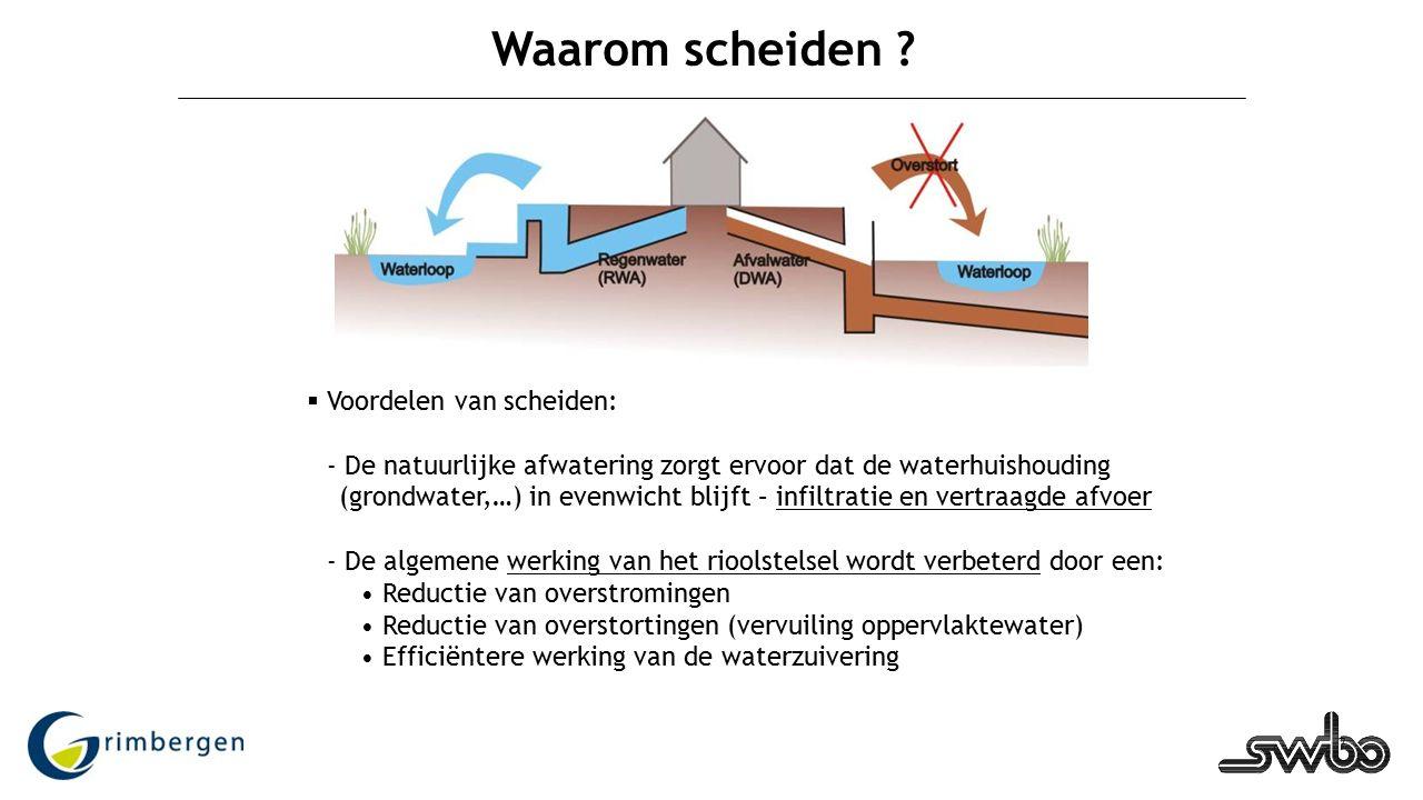 7 Waarom scheiden ?  Voordelen van scheiden: - De natuurlijke afwatering zorgt ervoor dat de waterhuishouding (grondwater,…) in evenwicht blijft – in