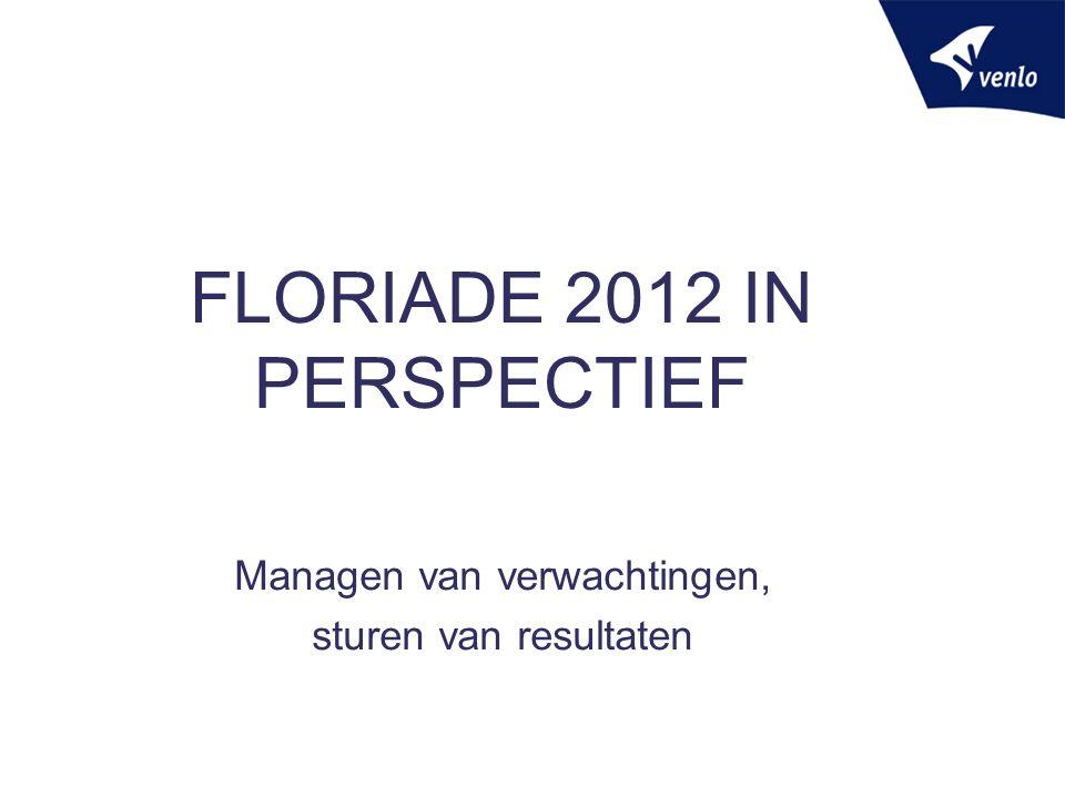 FLORIADE 2012 IN PERSPECTIEF Managen van verwachtingen, sturen van resultaten