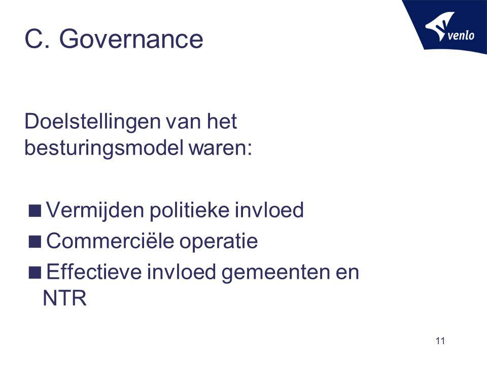 C. Governance Doelstellingen van het besturingsmodel waren:  Vermijden politieke invloed  Commerciële operatie  Effectieve invloed gemeenten en NTR