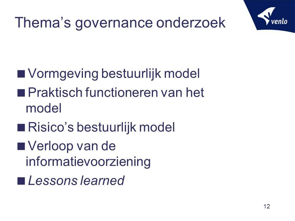 Thema's governance onderzoek  Vormgeving bestuurlijk model  Praktisch functioneren van het model  Risico's bestuurlijk model  Verloop van de informatievoorziening  Lessons learned 12