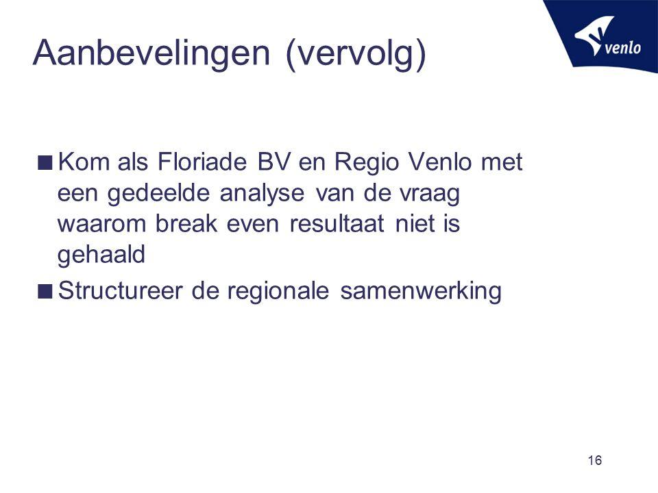 Aanbevelingen (vervolg)  Kom als Floriade BV en Regio Venlo met een gedeelde analyse van de vraag waarom break even resultaat niet is gehaald  Struc