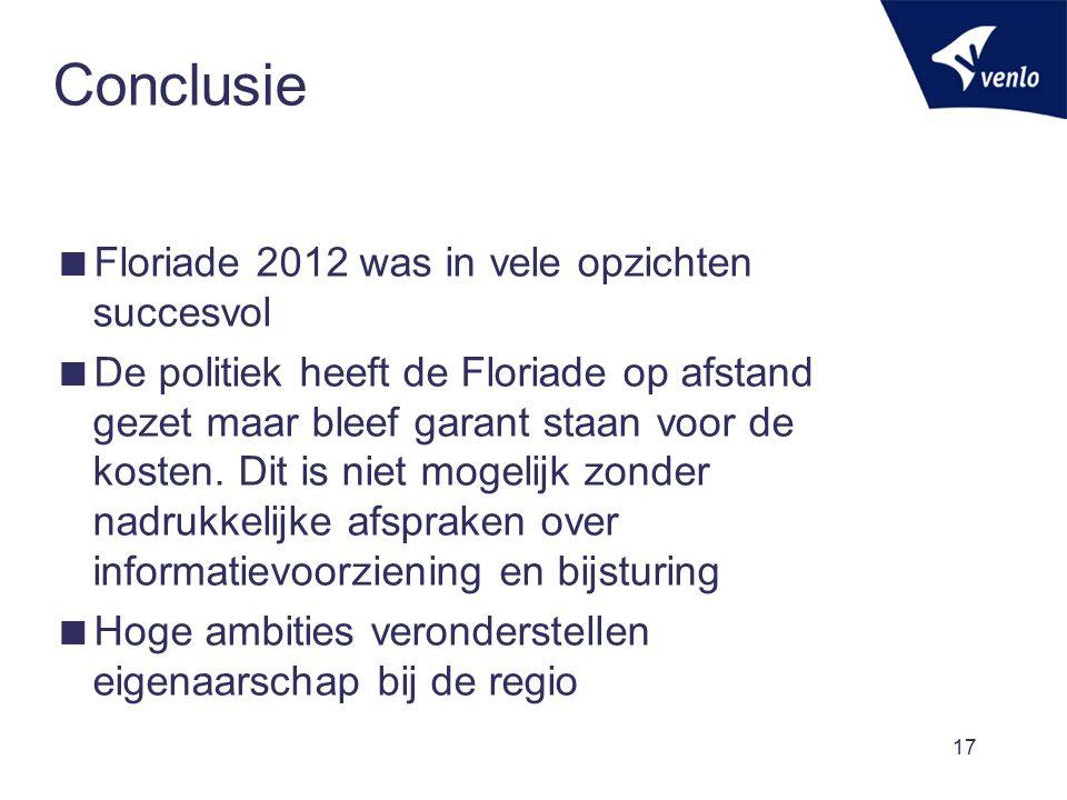 Conclusie  Floriade 2012 was in vele opzichten succesvol  De politiek heeft de Floriade op afstand gezet maar bleef garant staan voor de kosten. Dit