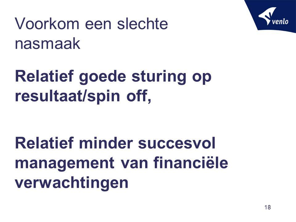 Voorkom een slechte nasmaak Relatief goede sturing op resultaat/spin off, Relatief minder succesvol management van financiële verwachtingen 18