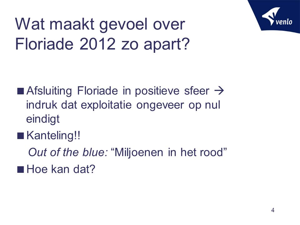 Wat maakt gevoel over Floriade 2012 zo apart?  Afsluiting Floriade in positieve sfeer  indruk dat exploitatie ongeveer op nul eindigt  Kanteling!!